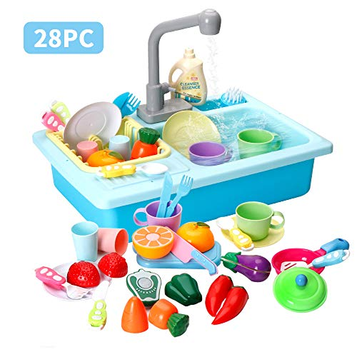 LBLA Kitchen Sink Toys, 28PCS Pretend Play Wash Up Kitchen Toys ,Dishwasher and Cutting Toys , Automatic Water Cycle System Play House Pretend Role Play Toys for Boys Girls (The Best Cutting Cycle)