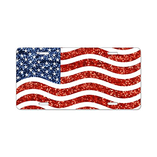 CafePress - Sequin American Flag - Aluminum License Plate, Front License Plate, Vanity Tag (Sequins Tags)