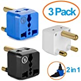 Yubi Power 2 in 1 Universal Travel Adapter with 2 Universal Outlets - Built in Surge Protector - 3 Pack - Black White Blue - Type M for South Africa, Lesotho, Mozambique, Namibia, Nepal and more!