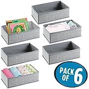 mDesign Soft Fabric Dresser Drawer and Closet Storage Organizer Set for Child/Baby Room, Nursery, Playroom, Bedroom – Rectangular Organizer Bins with Textured Print - Pack of 6, Gray