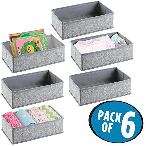 mDesign Soft Fabric Dresser Drawer and Closet Storage Organizer Set for Child/Baby Room, Nursery, Playroom, Bedroom – Rectangular Organizer Bins with Textured Print - Pack of 6, ()