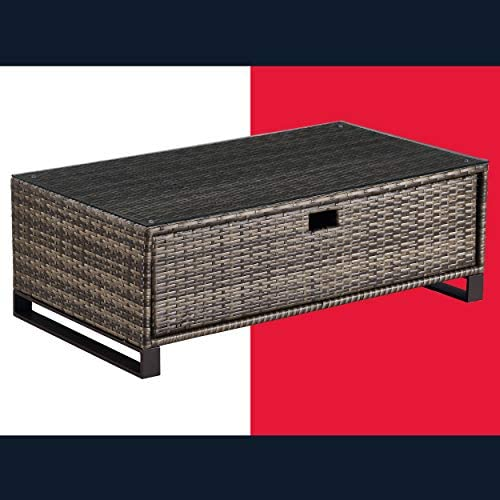 Tommy Hilfiger Oceanside Patio Rattan Outdoor Furniture Collection with All-Weather Brown Resin Wicker Frame, Porch or Pool, Garden, Coffee Table