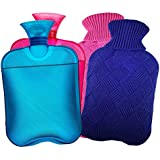 AZMED Hot Water Bottle with Cover, 2-Liter Natural Warm...