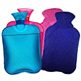 AZMED Hot Water Bottle with Cover, 2-Liter Natural Warm Compress and Heating Pad for Cramps and Back Pain, 2-Pack