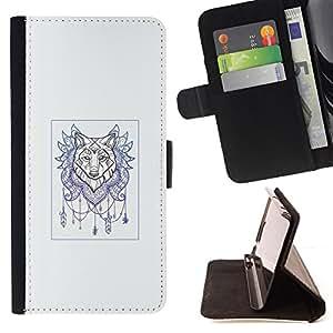 KingStore / Leather Etui en cuir / Samsung Galaxy S4 Mini i9190 / Lobo Colector ideal - arte del tatuaje