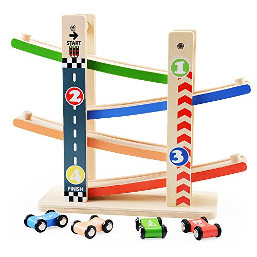 rolimate 4 Level Wooden Ramp Racer Swtichback RaceTrack with 4 Speed Cars, Early Educational & Fun Toys for 3 years old and (Ramp Racer)