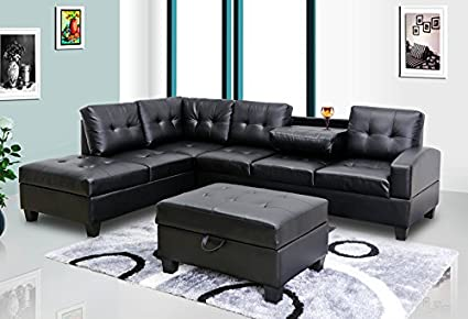 Exceptional GTU Furniture Pu Leather Living Room Sectional Sofa Set In Black/White  (WITH OTTOMAN