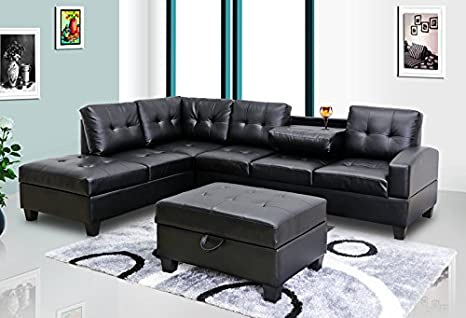 GTU Furniture Pu Leather Living Room Sectional Sofa Set in Black/White  (with Ottoman, Black)