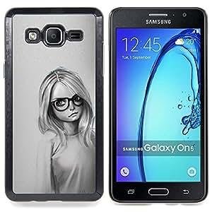 "Qstar Arte & diseño plástico duro Fundas Cover Cubre Hard Case Cover para Samsung Galaxy On5 O5 (Muchacha Con Los Vidrios"")"