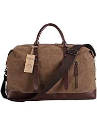 Travel Duffel Bag Canvas Bag PU Leather Weekend Bag Overnight