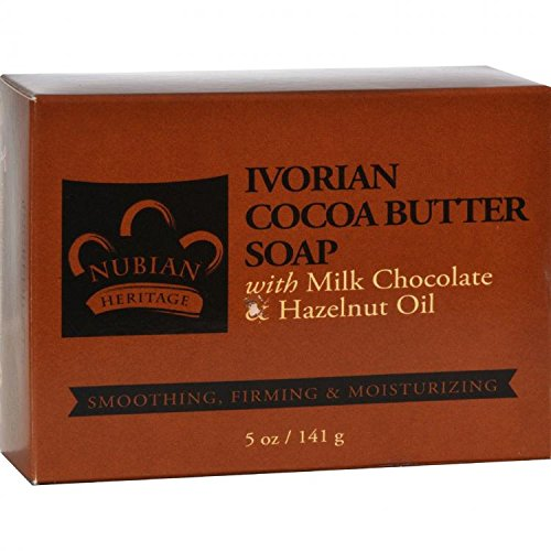 Nubian Heritage Ivorian Cocoa Butter Milk Chocolate and Hazelnut Oil Bar Soap, 5 by Nubian Heritage Ivorian Cocoa Butter Soap