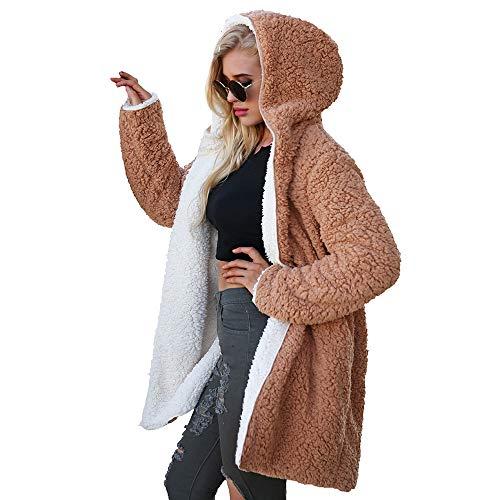 Donna Indossare di Inverno Top Cappotto Entrambi Cappotto Cappotto Donna i Moda su Patchwork Lati BaZhaHei Giacca Un Marrf Lunga Manica Artificiale Lana w6qdpBA