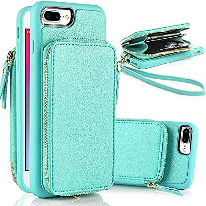 brand new de380 2aaaf ZVE iPhone 7 Plus Wallet Case, iPhone 8 Plus Wallet Case Leather Wallet  Case with ID Credit Card Holder Case with Kickstand Protective Case Cover  for ...