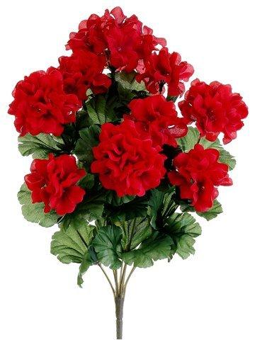 (Silk Plants Direct Geranium Bush (Pack of 12) - Red)