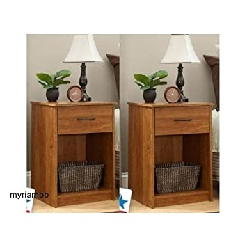 Amazon.com: Set of 2 Nightstand MDF End Tables Pair Bedroom Table ...