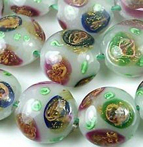Glamorise Beads #13479 Lampwork Glass 18K Gold Foil Blossom Lentil Beads 20mm