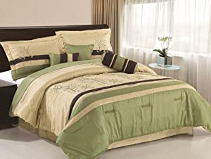Amazon Com Chezmoi Collection 7 Piece Taupe Brown Forest