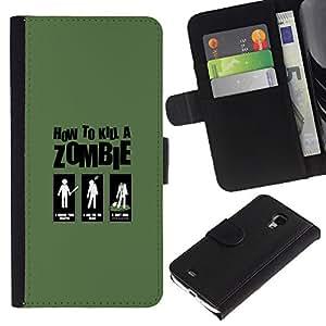LECELL--Cuero de la tarjeta la carpeta del tirón Smartphone Slots Protección Holder For Samsung Galaxy S4 Mini i9190 -- Zombie Killing Guía divertido --