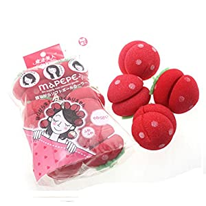 [Set of 2]Creative 6 PCS Home DIY Hair Rollers Strawberry Ball Hair Styling Tool