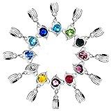 RUBYCA 10Pcs Mix Assortment Heart Dangle Pendant Charm Beads Crystal Rhinestone European Bracelet