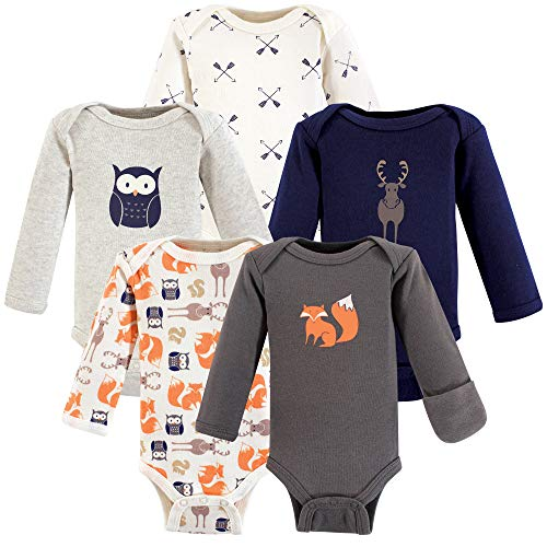Hudson Baby Baby Preemie Bodysuit, 5 Pack, Forest Long Sleeve,