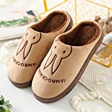 Aemember Bag Of Cotton Slippers With Couples Home Soft Thick Bottom Bottom Skid In Winter Indoor Home Furnishing Shoes,44-45 (Fit For 43-44 Feet),Coffee (Ban Bao)