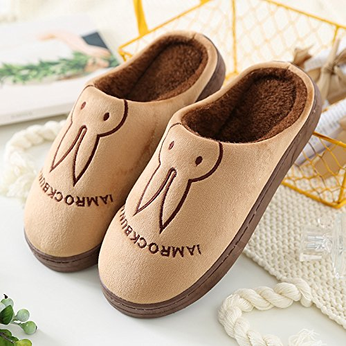 Aemember Bag Of Cotton Slippers With Couples Home Soft Thick Bottom Bottom Skid In Winter Indoor Home Furnishing Shoes,Hint: The Size Is Small,Coffee (Ban Bao)
