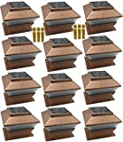 12 Pack Outdoor Garden Solar LED Copper Post Cap Fence Pathway Landscape Deck Square Light Lights + Free Bonus 12-Pack AA 600 mAH Replacement Rechargeable Batteries Bundle Deal
