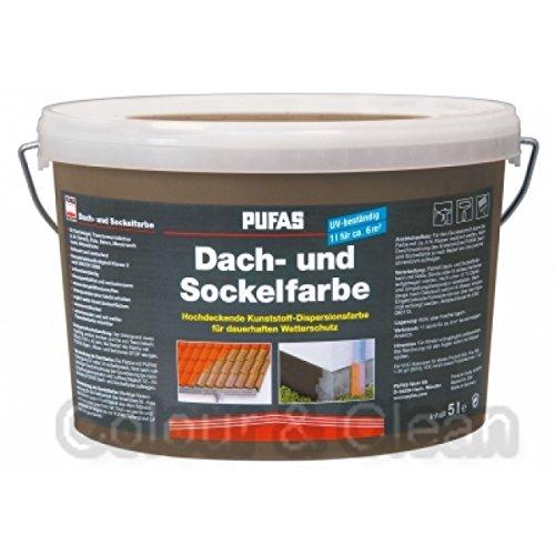 Pufas Dach- und Sockelfarbe 5 L Farbe: Torf 952 Dachfarbe Sockel-Anstrich