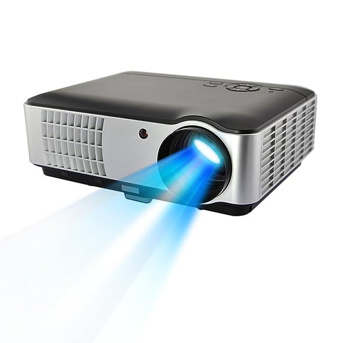 DBPOWER Proyector con control remoto, 1280*800p, brillo de 2800 lúmenes, con interfaz de VGA/HDMI/AV, Reproducción directa y compatible con USB y ...