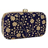 Hand Crafted Designer Box Clutch with Zari Embroidery Work on Silk Texture Specially Designed (Blue-1)