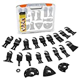 Oscillating Tool Blades, EnerTwist 25Pcs Multitool Saw Blade Quick Release Accessories Kit in Storage Box for Metal Wood Carbide Cutting, Universal Fit Dewalt Bosch Dremel Milwaukee and OIS, ET-OB-25
