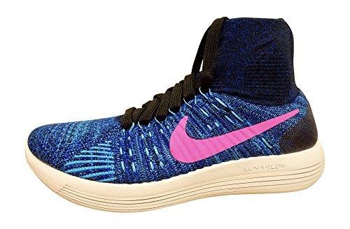 NIKE Women's Lunarepic Flyknit Running Shoes (8, Black/Pink Blast-Blue Glow)