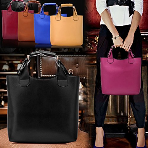 Bolso - All4you Moda PU elegante cuero bolso bandolera para damas pulsera Negro