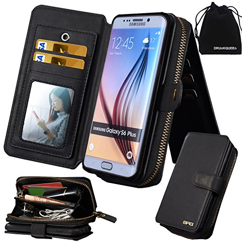 Clutch Credit - DRUnKQUEEn S6 Edge Plus Case, Galaxy S6 EdgePlus Case, Premium Zipper Wallet Leather Detachable Magnetic Purse Clutch Removable Case with Flip Credit Card Holder Cover for Samsung Galaxy S6edgePlus