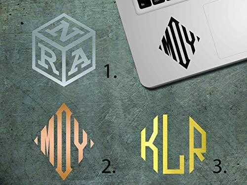 BYRON HOYLE Monogram Cube Sticker, Personalized Square/Octagon Monogram Decal, Custom Diamond Monogram MacBook, Laptop, iPhone, Notebook, Car Decal