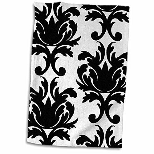 Damask Hand Towel - 3D Rose Large Elegant Black and White Damask Pattern Design Hand/Sports Towel, 15 x 22
