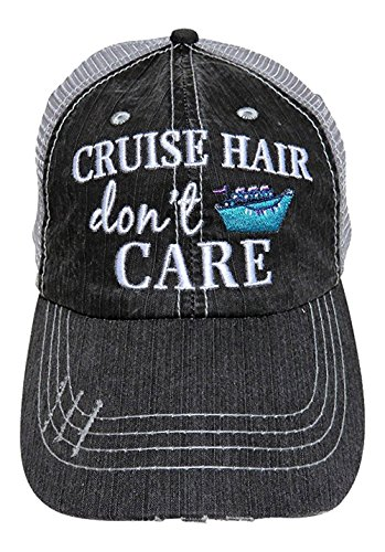 Embroidered Cruise Hair Don't Care Distressed Look Grey Trucker Cap (Sister Womens Cap)