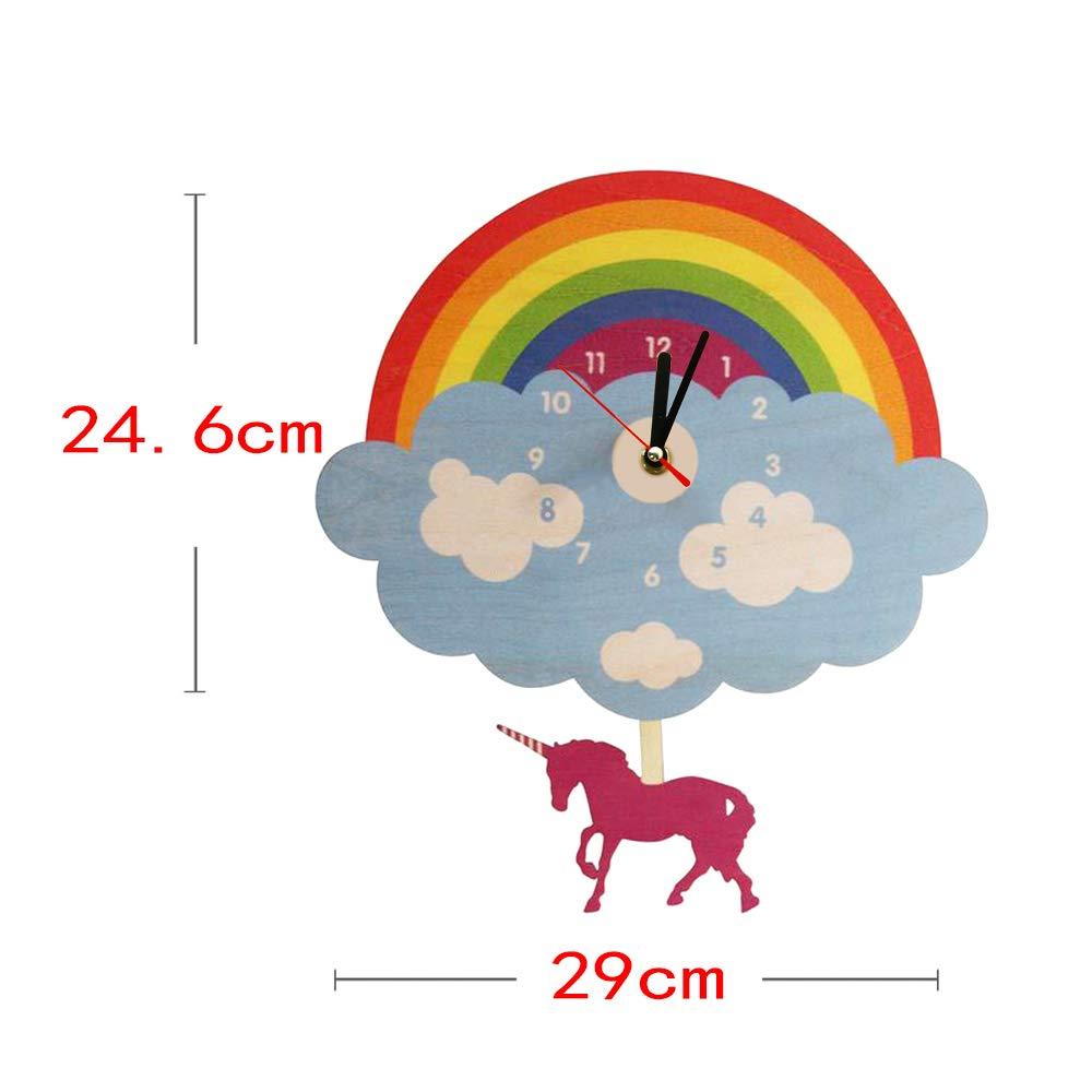 gaixample.org EWJY Rainbow Cloud Wall Clock With Swinging Unicorn ...