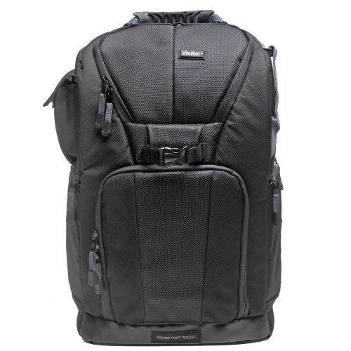 Vivitar Series One Digital SLR Camera/Laptop Sling Backpack - Medium (Black) Holds Most 15.4''' Laptops with 58'' Tripod + Cleaning Kits for Canon, Nikon, Olympus, Panasonic, Fuji & Sony Alpha Cameras