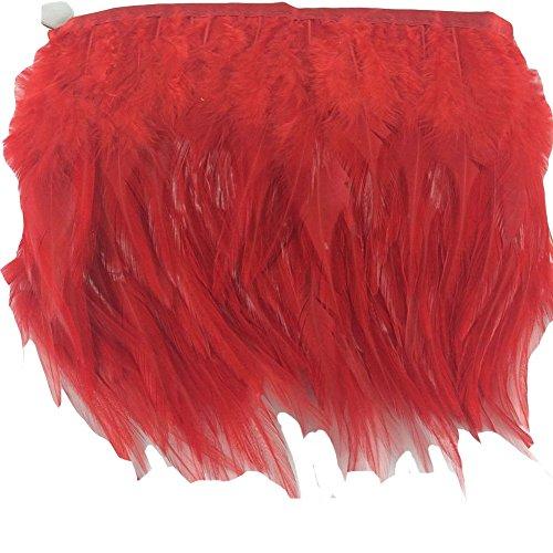 KOLIGHT Pack of 2 Yards Natural Rooster Hackle Feather Trim Fringe 4-6