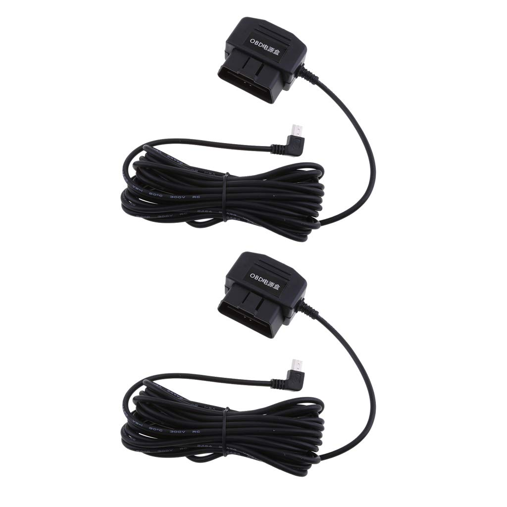kesoto Universal Car Dash Cam Hard Wire Kit Tools Adapter 12 24V to 5V Step Down Cables for DVR GPS (Pack of 2)