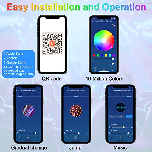 AveyLum WiFi LED Strip Light Kit 32.8ft Flexible Rope Lights 5050 SMD RGB Waterproof IP65 App Smart Tape Lights Sync to Music, Compatible with Alexa, Google Assistant, Android iOS