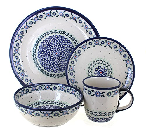 Blue Rose Polish Pottery Petite Bouquet 16 Piece Dinnerware Set