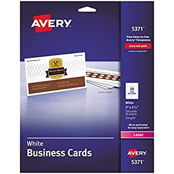 Amazon avery 5371 printable microperf business cards laser 2 avery 5371 printable microperf business cards laser 2 x 3 12 reheart Image collections
