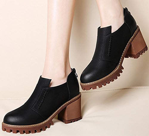 Frau im Frühjahr und Herbst Schuhe Rundkopf dick mit hohen Absätzen Lederschuh Frau , US7.5 / EU38 / UK5.5 / CN38