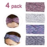 4 Pack Women Headband Criss Cross Head Wrap Hair Band Stretchy Headwraps Yoga Running Sports Hairband for Women Yoga Sports Headband Lightweight Working out Headbands (Color group 1)