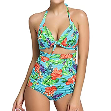ae976e9d8076b YIRANSHINI High Waist Women Swimsuit Plus Size Floral Print Vintage 2  Pieces Set Swimwear Bathing Suit