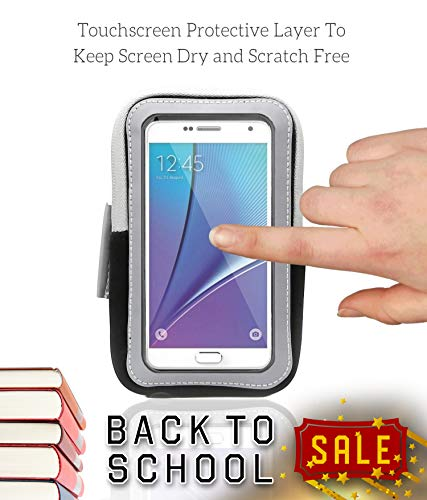 Sports Armband: Cell Phone Holder Case Arm Band Strap With Zipper Pouch/ Mobile Exercise Running Workout For Apple iPhone 6 6S 7 Plus Touch Android Samsung Galaxy S5 S6 S7 Note 4 5 Edge LG HTC Pixel by E Tronic Edge (Image #3)