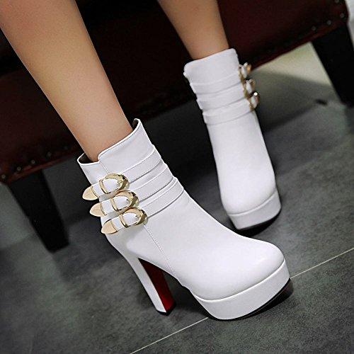 Short High Heel White Boots Women's Modern Carolbar Chic Buckle Zip Platform U8Apq6